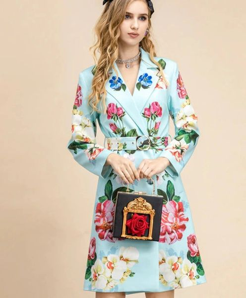8194 Runway 2021 Floral Print Mint Light Trench Coat