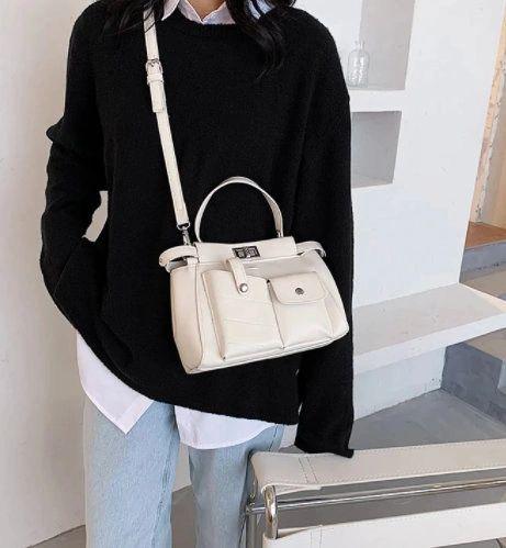 8198 Designer Camel Pockets Fox Crossbody Handbag