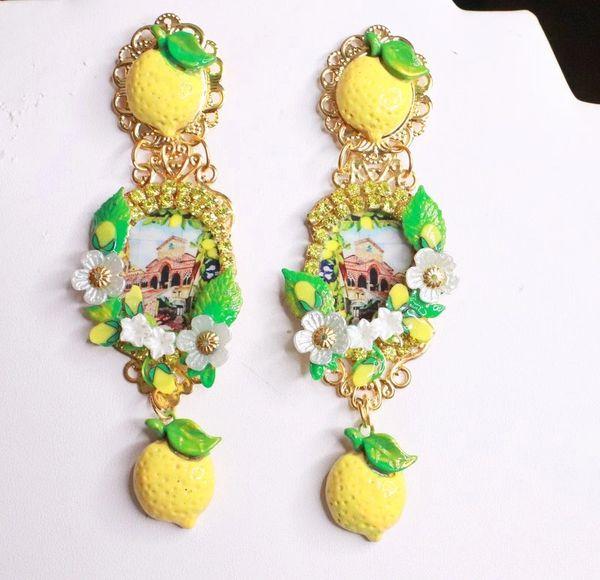8199 Italian Taormina Cameo Enamel Bee Lemon Fruit Studs Earrings