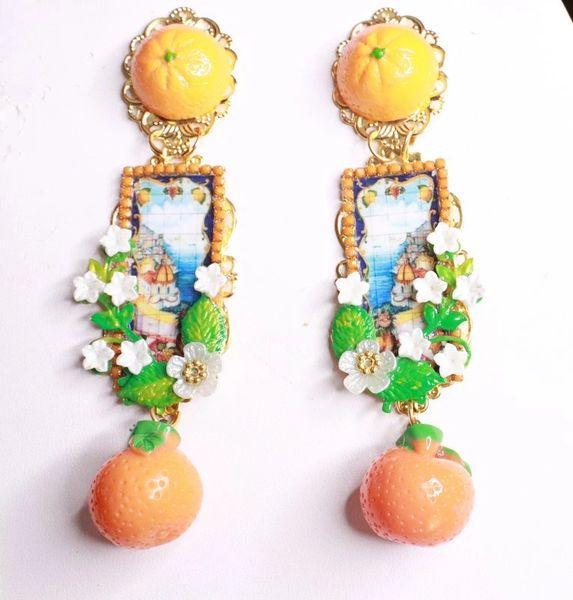 8200 Italian Taormina Cameo Orange Fruit Fruit Studs Earrings