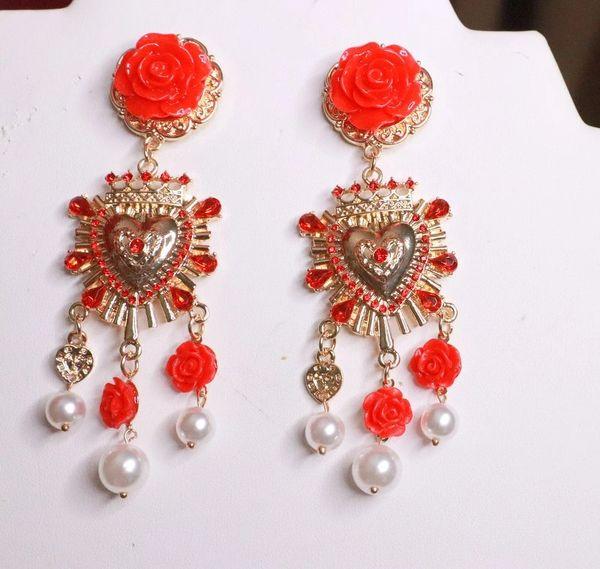 8201 Italian Sacred Heart Red Rose Studs Earrings