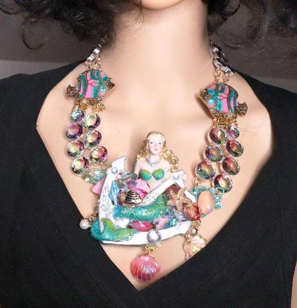 8205 Set Of Nautical Mermaid Genuine Tourmaline Necklace+ Earrings