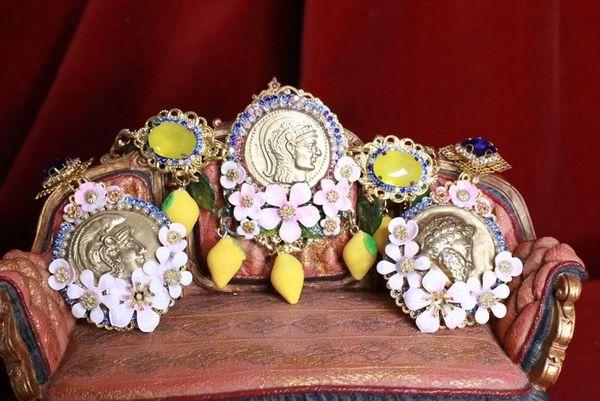 6529 Set Of Baroque Hand Painted Roman Coin Lemon Fruit Adjustable Bracelet+ Earrings