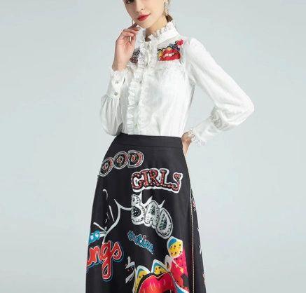 8190 Runway 2021 Twinset Of Blouse+ Midi Cartoon Print Skirt Twinset