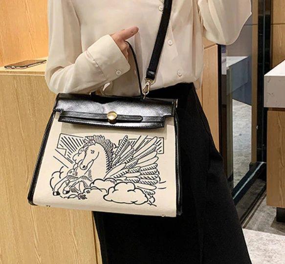 8206 Designer Kelly Sackcloth Horse Print Crossbody Handbag
