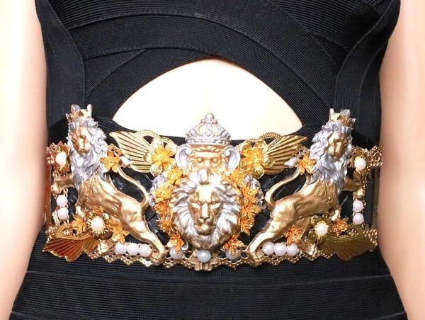 SOLD! 8209 Medieval Lions Gold Silver Embellished Waist Gold Belt Size S, L, M
