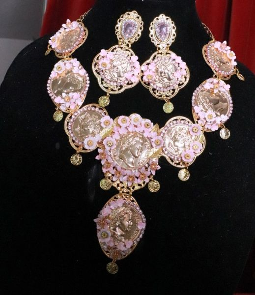 SOLD! 8212 Set Of Roman Revival Coin Flower Blossom Necklace+ Earrings