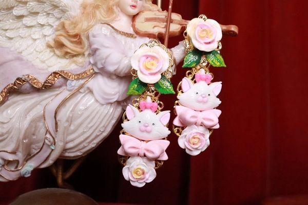 SOLD! 8213 Runway Baroque Cat Aquarium Roses Adorable Earrings