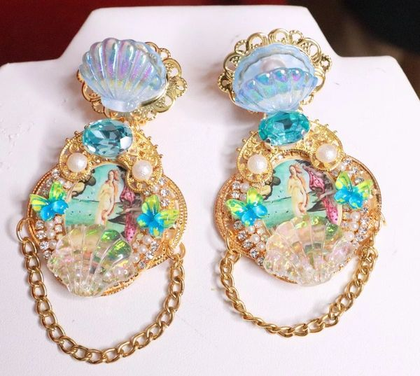 8214 Birth Of Venus Tall Shell Octopus Victorian Cameo Earrings Studs