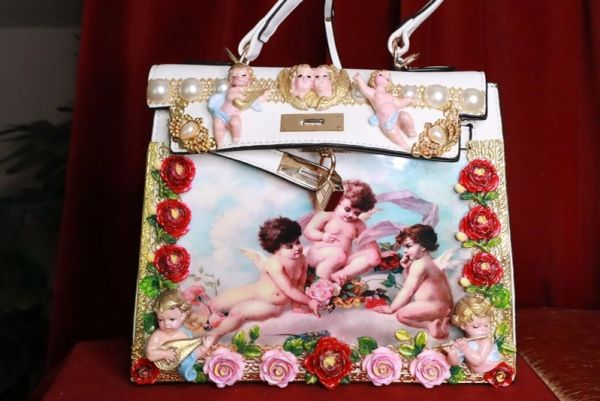 SOLD! 8219 Baroque Hand Painted Vivid Musical Cherubs Angels Roses Embellished Tote Crossbody Handbag