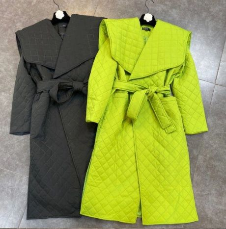 8220 Runway 2021 Quilted 2 Colors Belted Trench Coat