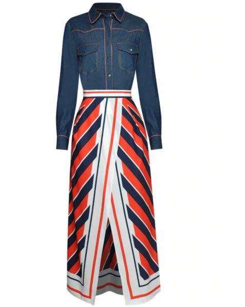 8221 Runway 2021 Designer Stylish Striped Skirt+ Denim Shirt Twinset