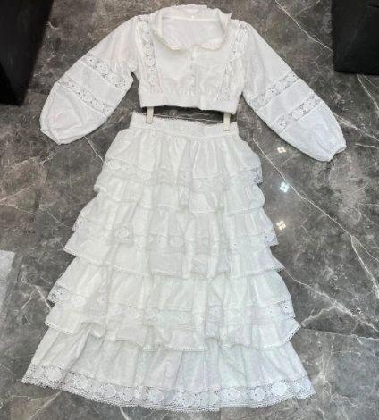 8222 Runway 2021 Designer Boho Cotton Lace Layered Skirt+ Top Twinset