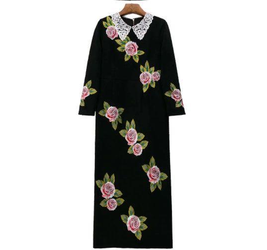 8224 Runway 2021 Designer Rose Flower Embroidery Lady like Midi Dress