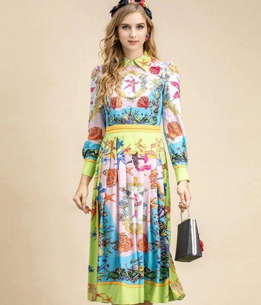 8225 Runway 2021 Designer Baroque Rainbow Pleated Midi Dress