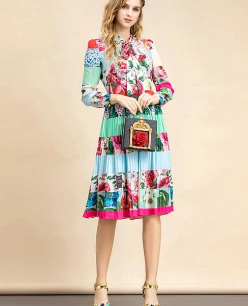 8226 Runway 2021 Designer Baroque Floral Print Rainbow Pleated Midi Dress