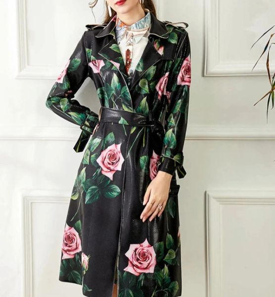 8227 Runway 2021 PU Leather Rose Print Trench Coat