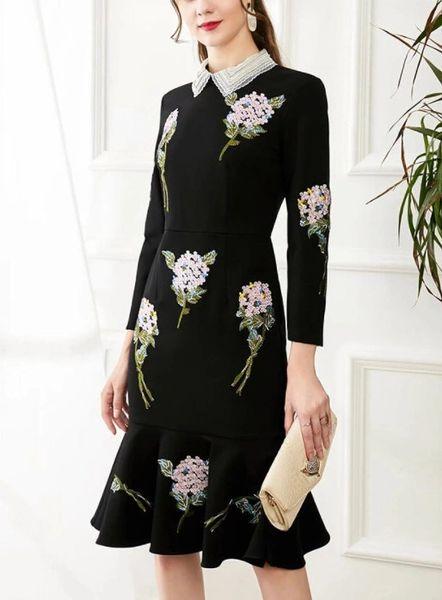 8228 Runway 2021 Designer Hydrangea Flower Embroidery Lady like Midi Dress