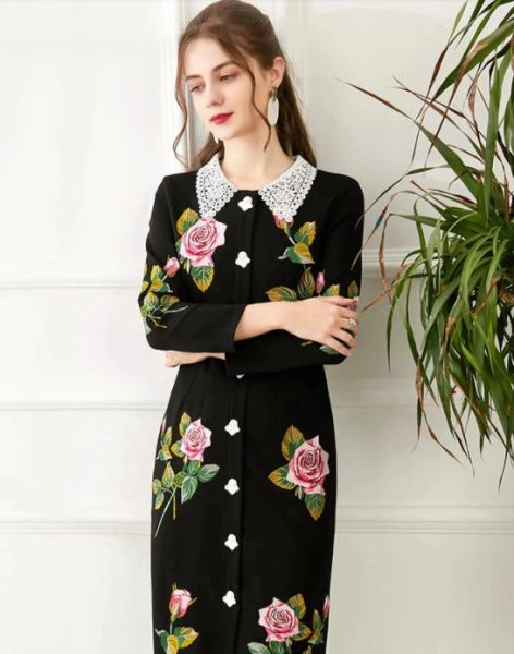 8229 Runway 2021 Designer Rose Flower Cherub Buttons Embroidery Lady like Midi Dress