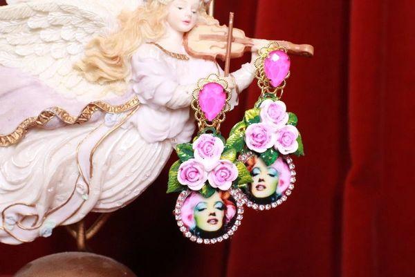8230 Marilyn Monroe Fuchsia Roses Earrings Studs