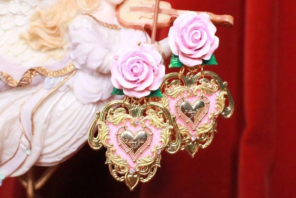 SOLD! 8233 Baroque Sacred Heart Rose Pink Earrings Studs