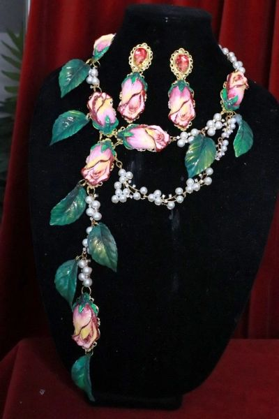SOLD! 8238 Set Of Rose Flower Cabochon Pearl Necklace+ Earrings