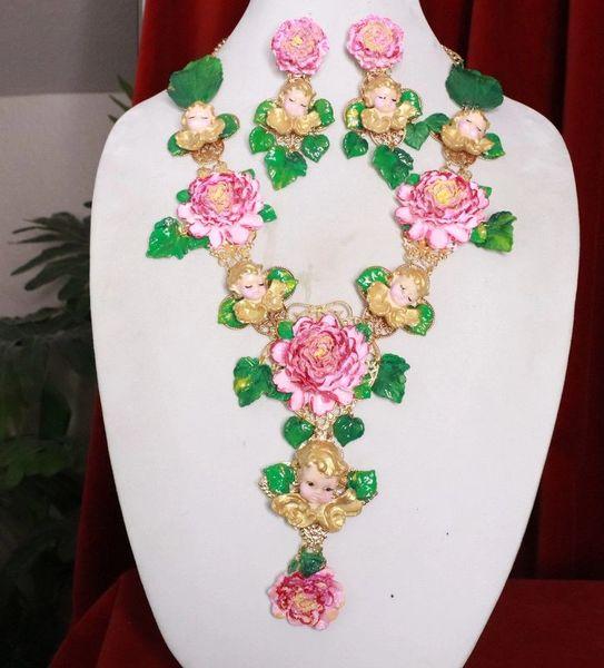8240 Set Of Baroque Sleeping Cherubs Angels Peony Hand Painted Necklace+ Earrings