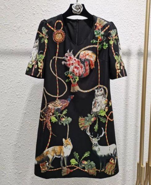 8244 Runway 2021 Designer Squirrel Print Lady like Midi Dress