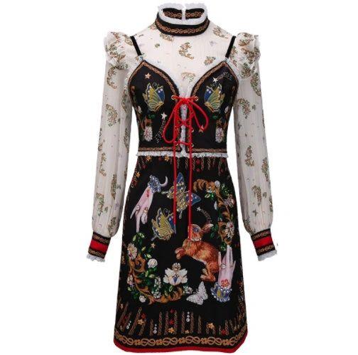 8245 Runway 2021 Designer Bunny Print Folk Midi Dress