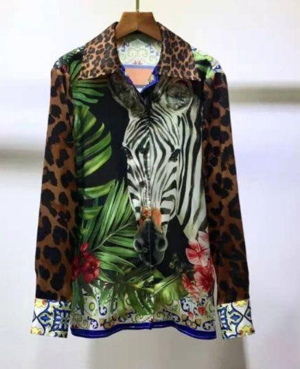 8247 High-End 100% Twill Silk Runway 2021 Zebra Jungle Print Shirt