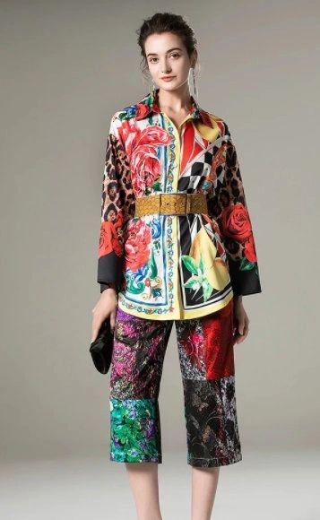 8248 Runway 2021 Designer Baroque Leopard Roses Print Blouse+ Cullotes Twinset