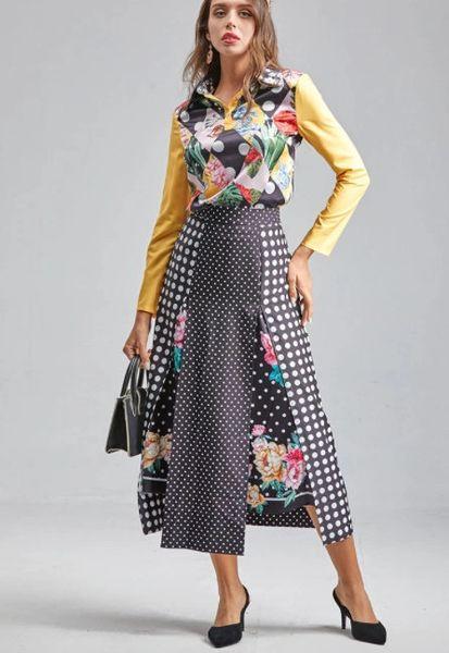8249 Runway 2021 Designer Baroque Polka dot Print Blouse+ Skirt Twinset