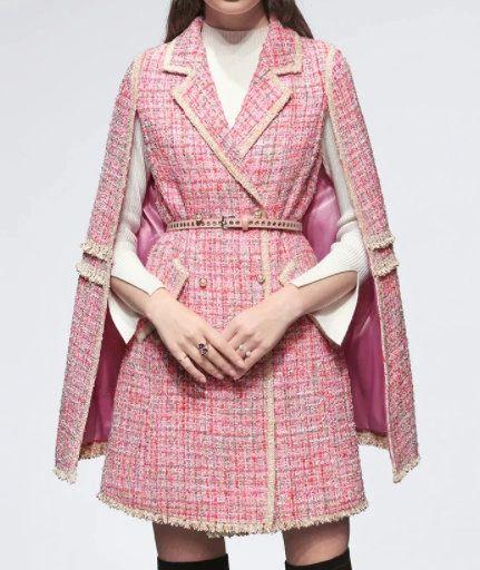8250 Runway 2021 Designer Tweed Double Breasted Mini Dress