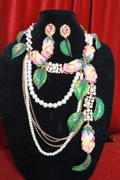 SOLD! 8255 Set Of Rose Flower Cabochon Pearl Necklace+ Earrings