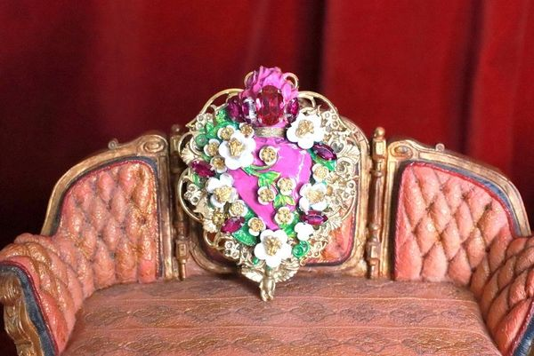 SOLD! 8256 Runway Baroque Fuchsia Sacred Heart Brooch