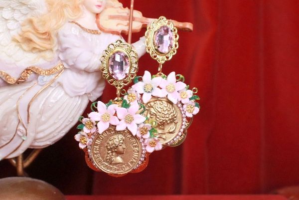 8258 Baroque Runway Flower Blossom Roman Coin Long Studs Earrings