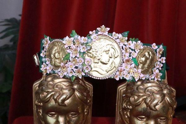 8259 Baroque Runway Roman Coin Flower Blossom Corset Waist Belt Size S, L, M