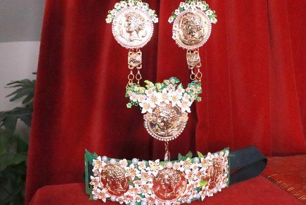 8260 Set Of Roman Revival Coin Flower Blossom Necklace+ Earrings
