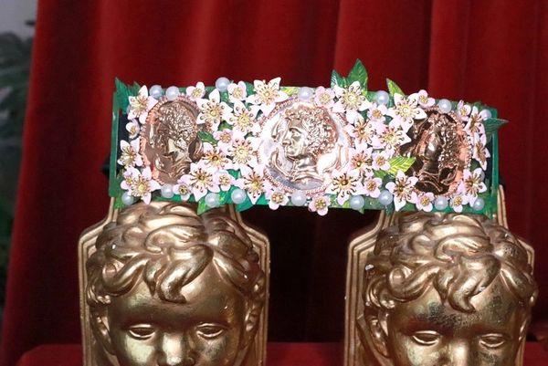 8261 Baroque Runway Roman Coin Flower Blossom Corset Waist Belt Size S, L, M