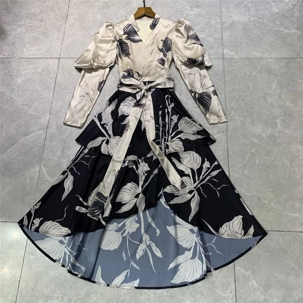 8263 Runway 2021 Designer Belted Leaf Floral Print Midi Silky Touch Dress