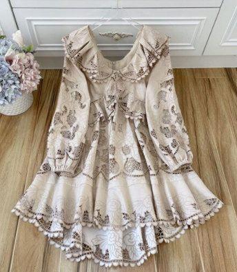 8265 High-End 2 Colors Runway 2021 Designer Anglais Embroidery Linen Mini Dress