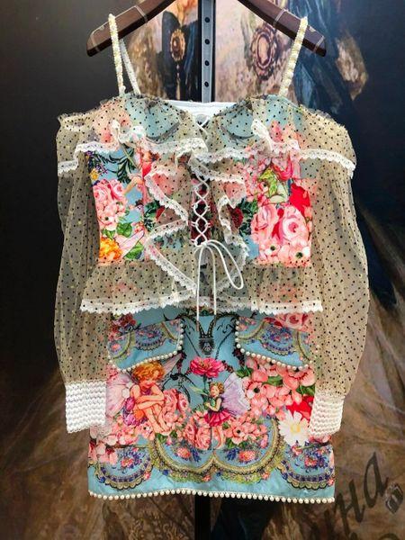 8266 Runway 2021 Designer Fairy Print Top+ Skirt Twinset