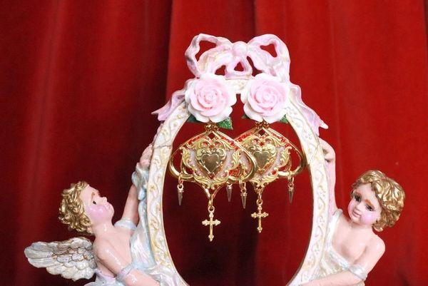 8271 Baroque Sacred Heart Rose Studs Earrings