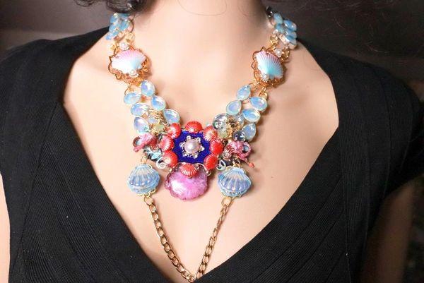 8273 Nautical Mermaid Genuine Opal Solar Quartz Necklace