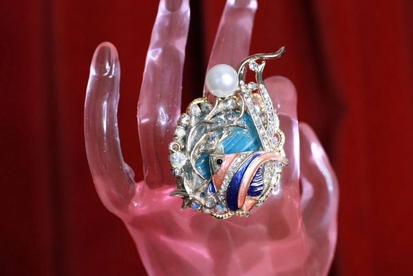 8274 Baroque Art Jewelry Nautical Genuine Agate Ocean Fish Cocktail Adjustable Ring
