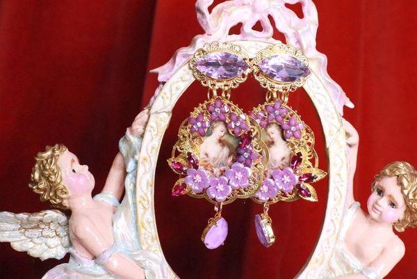 8275 Victorians Paintings Purple Flowers Studs Earrings