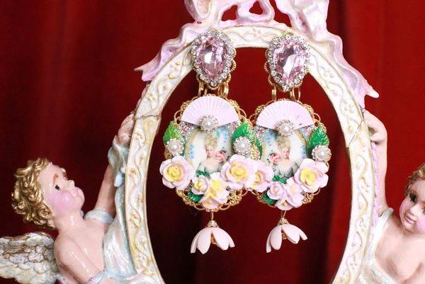 8279 Young Marie Antoinette Pale Flowers Cameo Elegant Earrings