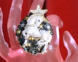 SOLD! 8281 Genuine Huge Agate Unicorn Cocktail Adjustable Ring