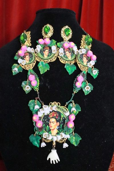 SOLD! 8282 Set Of Frida Kahlo Pastel Lily Of The Valley Necklace+ Earrings