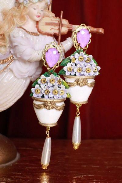 8285 Victorian Pod Hydrangea Flower Earrings